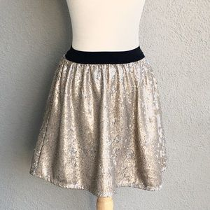🆕ABERCROMBIE& FITCH Gold Sequin Skater Skirt Sz S